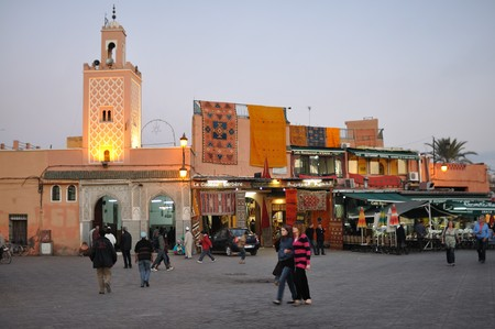 marrakesh: Piazza Djemaa El Fnaa a Marrakech, Marocco. Foto scattata al 20 novembre 2008