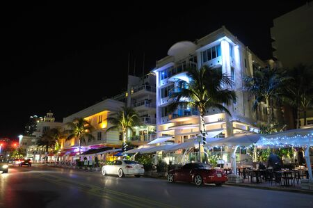 Miami South Beach Art Deco District at Night, Ocean Drive. Photo taken at 11th of November 2009 Editorial