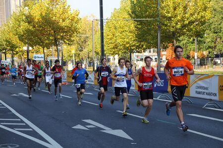 marathon running: Runners on the street during the Frankfurt Marathon 2010 in Germany. Photo taken at 31st of October 2010 Editorial
