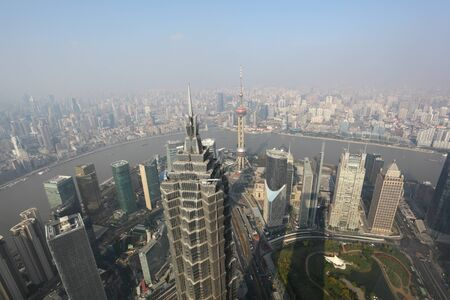 Shanghai from above. View from Shanghai World Financial Center, China Stock Photo - 8421378