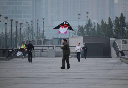 Chinese dragon kites at The Bund in Shanghai, China. Photo taken at 17th of November 2010