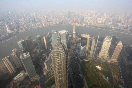 Aerial view over the Megacity Shanghai, China Stock Photo - 8443410