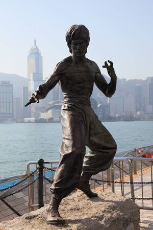 Statue of the famous actor Bruce Lee at the Avenue of Stars in Hong Kong. Photo taken at 5th of December 2010