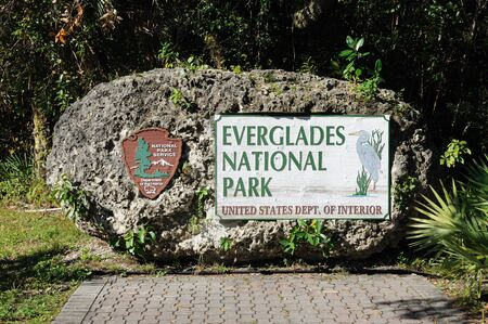 everglades: Everglades National Park Sign, Florida USA. Photo taken at 15th of November 2009