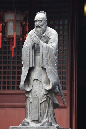Statue of Confucius at Confucian Temple in Shanghai, China photo