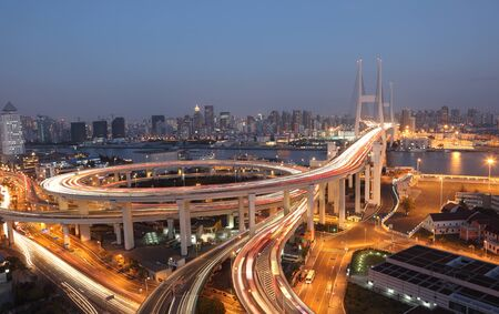 Nanpu Bridge at night. Shanghai, China Stock Photo