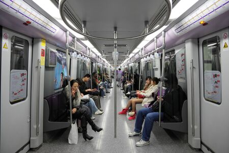 Commuters in Shanghai Metro. Photo taken at 19th of November 2010