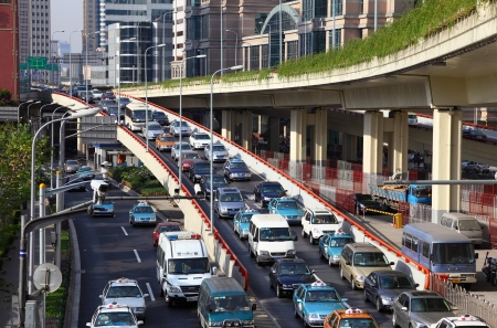 Rush Hour Traffic in Shanghai, China. Photo taken at 24 of November 2010 Stock Photo - 8485388