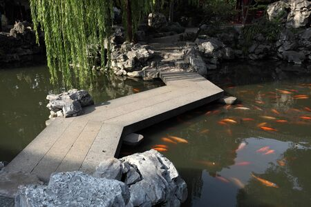 Chinese Garden with Koi Pond in Shanghai Stock Photo - 8541580