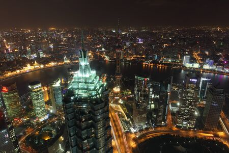 shanghai skyline: Aerial view over the city of Shanghai at night. Photo taken at 22nd of November 2010
