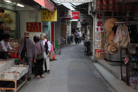 Narrow street with market in Tai O, Hong Kong. Photo taken at 1st of December 2010 Stock Photo - 8526456