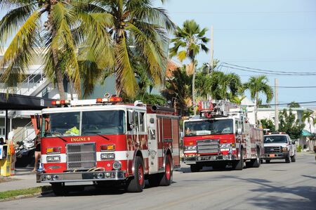 Fire brigade truck in Key West, Florida, USA. Photo taken at 18th of November 2009