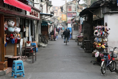 Street in the old town of Shanghai, China. Photo taken at 19th of November 2010