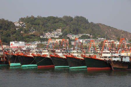 Fishing ships in harbor of Cheung Chau, Hong Kong. Photo taken at 3rd of December 2010