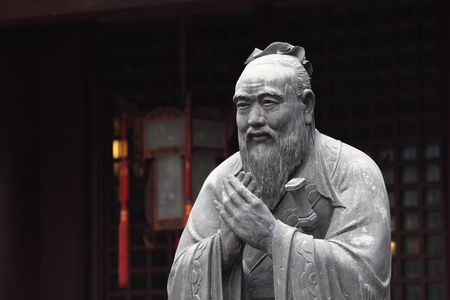 shanghai: Statue of Confucius at Confucian Temple in Shanghai, China