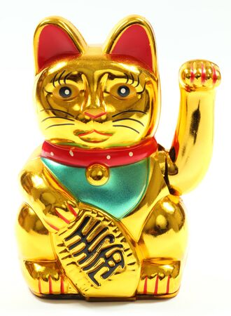 Lucky Chinese Cat isolated over white background Stock Photo - 8582524