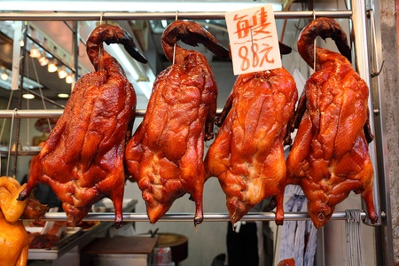 china cuisine: Roast Ducks in the shopping window, Hong Kong Stock Photo