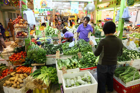 Fruits and Vegetables Market in Hong Kong. Photo taken at 27th of November 2010 Stock Photo - 8577414