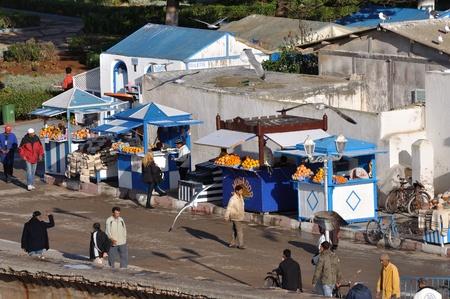 Orange juice vendors in Essaouria, Morocco Africa. Photo taken at 15th of November 2008