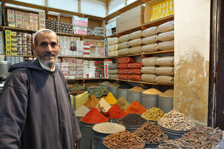 medina: Spices seller in the medina of Fes, Morocco. Photo taken at 20th of November 2008 Editorial