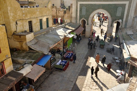 suq: Bab Boujeloud Gate in Fes, Morocco. Photo taken at 23th of November 2008