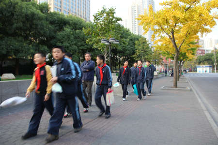 pioneers: Group of Young Pioneers in Shanghai, China. Photo taken at 23rd of November 2010 Editorial