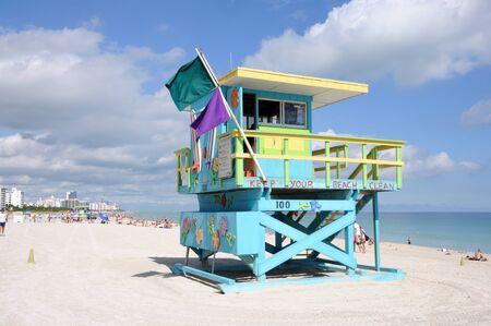 Lifeguard Tower at Miami South Beach, Florida USA. Photo taken at 25th of November 2009