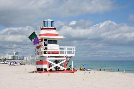 miami south beach: Lifeguard Tower at Miami South Beach, Florida USA. Photo taken at 25th of November 2009