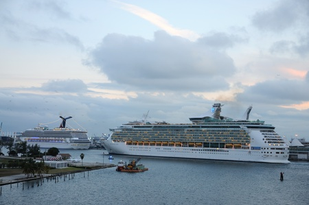 Cruise ships in Port of Miami, Florida. Photo taken at 25th of November 2009 Stock Photo - 8683708
