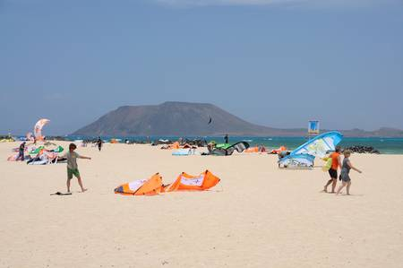 Kite Surfers on the Beach of Corralejo, Canary Island Fuerteventura. Photo taken at 27th of May 2009