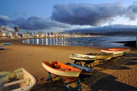 Fishing boats on the beach. Las Palmas de Gran Canaria, Spain. Photo taken at 14th of April 2010 Editorial