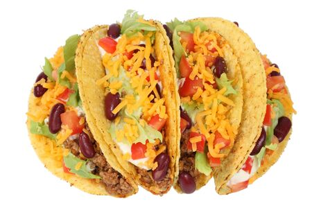 mexican background: Delicious Mexican tacos isolated over white background