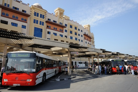 al: Buses at Al Ghubaiba Station in Dubai, United Arab Emirates. Photo taken at 27th of January 2009 Editorial