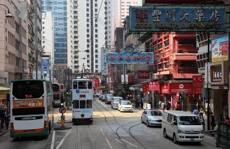 tram: Street in the city of Hong Kong. Photo taken at 30th of November 2010 Editorial