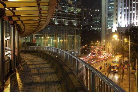 crossover: Pedestrian crossover in the city of Hong Kong at night. Photo taken at 30th of November 2010
