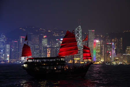 Traditional Sail Boat in Hong Kong at night. Photo taken at 25th of November 2010 Stock Photo - 8757116