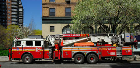 engine fire: Fire truck in New York City. Photo taken at 17th of April 2008