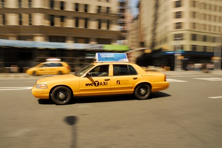 Yellow Taxi rushing  through New York City. Photo taken at 18th of April 2008