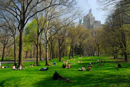 People relaxing in the Central Park, New York. Photo taken at 18th of April 2008