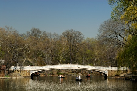 Rowboats on the lake in the Central Park, New York. Photo taken at 18th of April 2008
