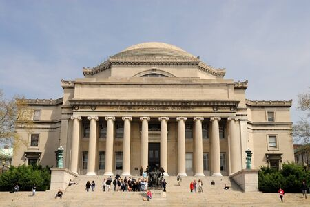 Low Memorial Library at Columbia University with the statue of Alma Mater, New York City. Photo taken at 21st of April 2008