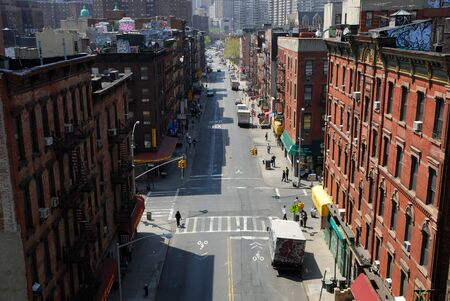Aerial view of a street in Chinatown, New York City. Photo taken at 23rd of April 2008
