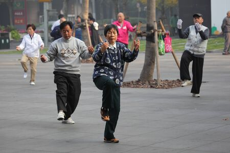 Chinese people practicing Tai Chi Chuan in the morning,  Shanghai China. Photo taken at 20th of November 2010 Stock Photo - 8796958