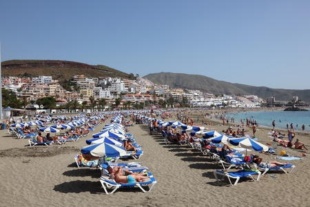 las vistas: Playa de las Vistas beach in Los Cristianos, Canary Island Tenerife, Spain. Photo taken at 24th of February 2011