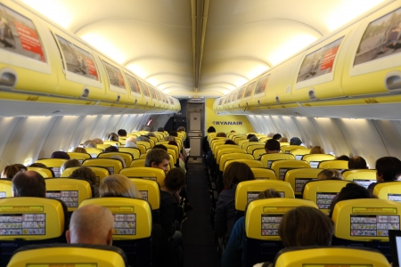 Inside of the Ryanair airplane. Photo taken at 2nd of February 2011 Stock Photo - 9322918