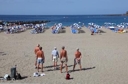 las vistas: Men playing Petanque on the beach. Playa de las Vistas, Los Cristianos, Tenerife Spain. Photo taken at 24th of February 2011 Editorial