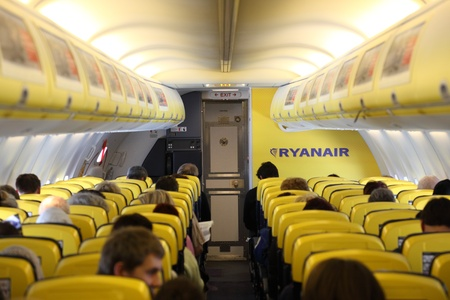 Inside of the Ryanair airplane. Photo taken at 2nd of February 2011 Stock Photo - 9338371