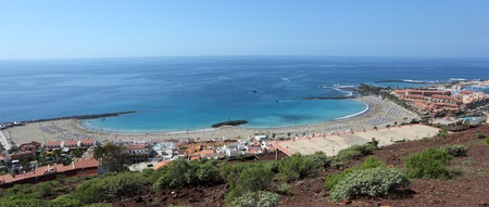 las vistas: Aerial view over Playa de las Vistas in Los Cristianos, Tenerife Spain Stock Photo