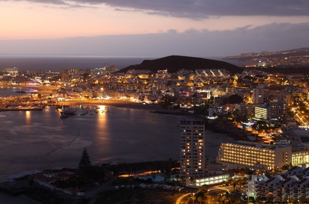 Aerial view of Los Cristianos at dusk. Canary Island Tenerife, Spain photo