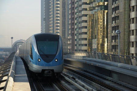 Metro train arriving in the Station, Dubai United Arab Emirates. Photo taken at 18th of January 2010